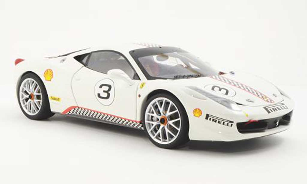 Ferrari 458 Challenge 1/18 Hot Wheels Elite No.3 blanche (Elite) miniature