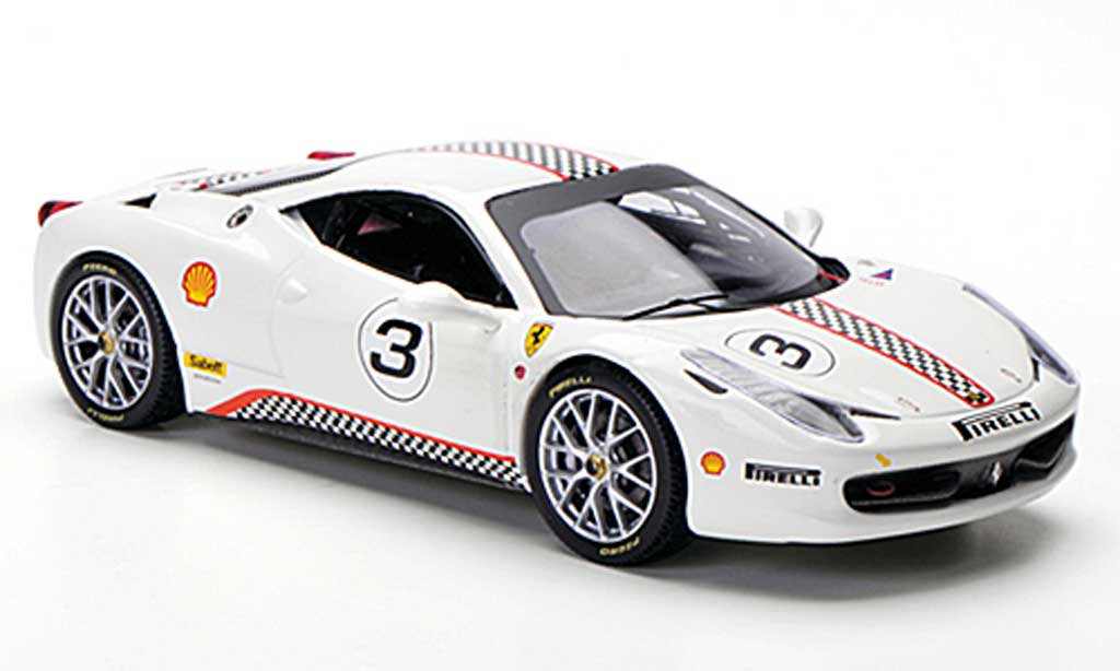 Ferrari 458 Challenge 1/43 Hot Wheels Elite No.3 blanche miniature