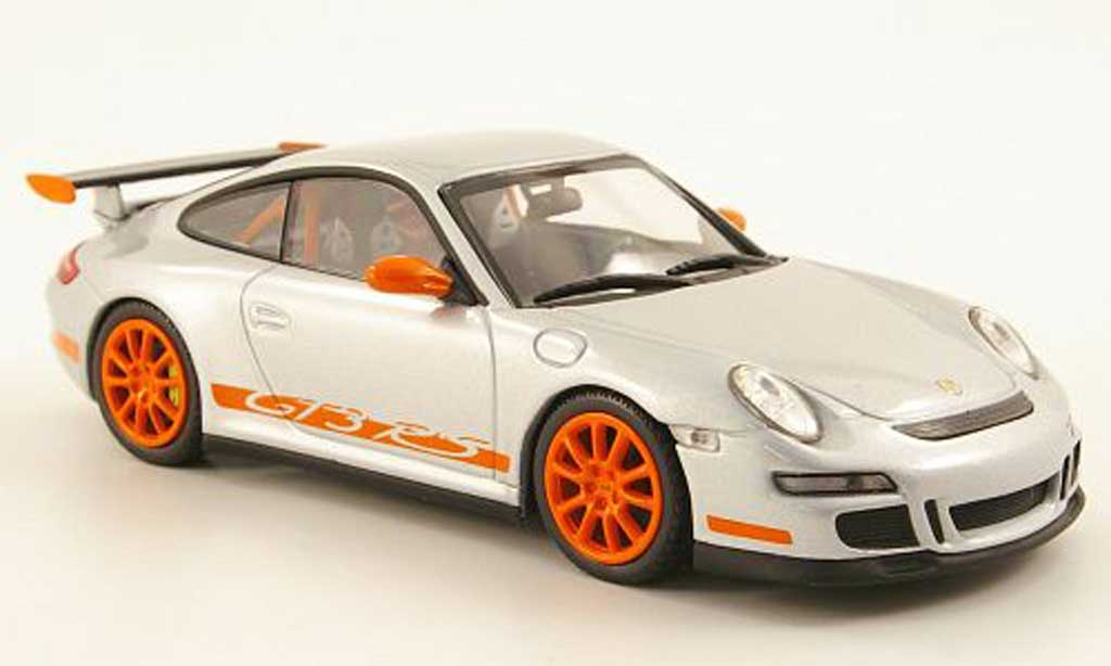 Porsche 997 GT3 RS 1/43 Minichamps grise /orange miniature