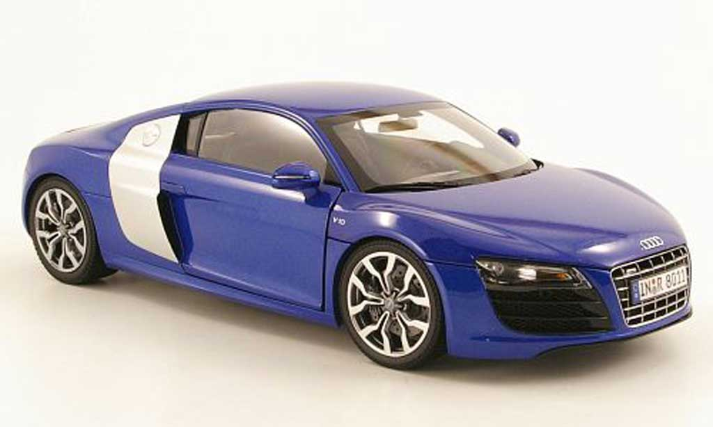 audi r8 5 2 fsi miniature quattro bleu kyosho 1 18 voiture. Black Bedroom Furniture Sets. Home Design Ideas