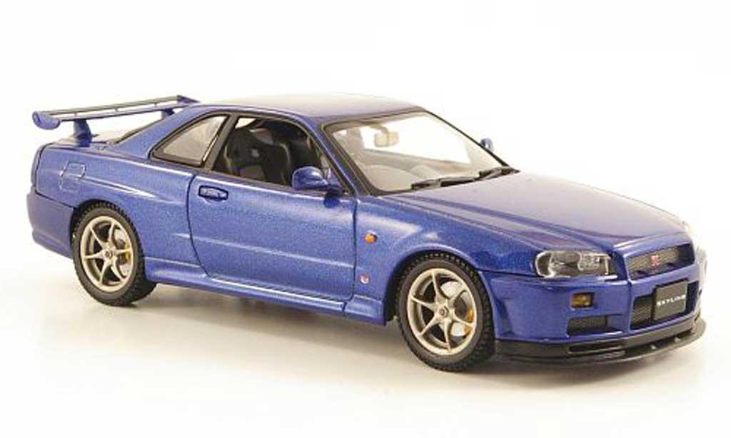 Nissan Skyline R34 1/43 Autoart GT-R bleu 1999 miniature