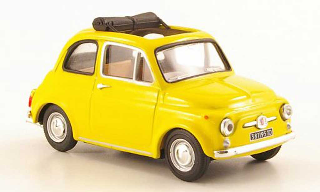 fiat 500 miniature f jaune offenes rolldach 1965 vitesse 1 43 voiture. Black Bedroom Furniture Sets. Home Design Ideas