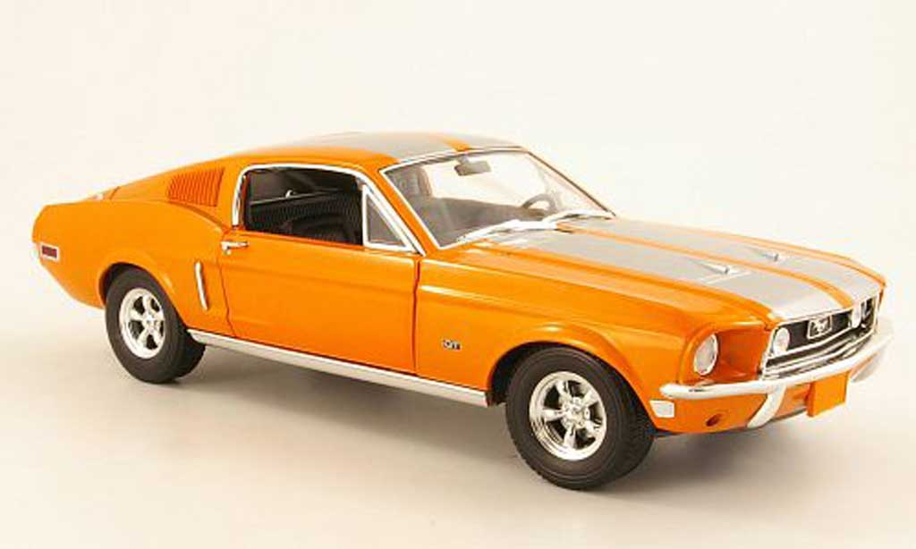 Ford Mustang 1968 1/18 Greenlight GT 2+2 Fastback orange/grise metalliseegrise miniature
