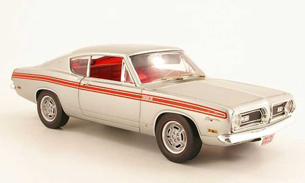 Plymouth Barracuda 1969 1/18 Highway 61 383 Formula S grise metallisee miniature