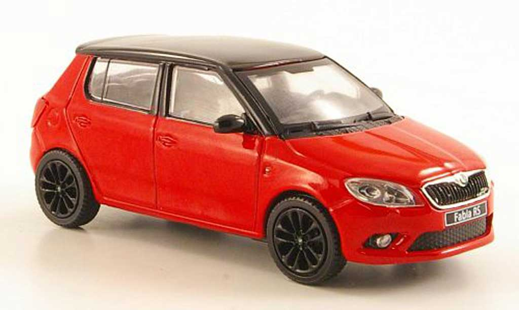 skoda fabia miniature rs rouge mit noireem dach und felgen 2010 abrex 1 43 voiture. Black Bedroom Furniture Sets. Home Design Ideas