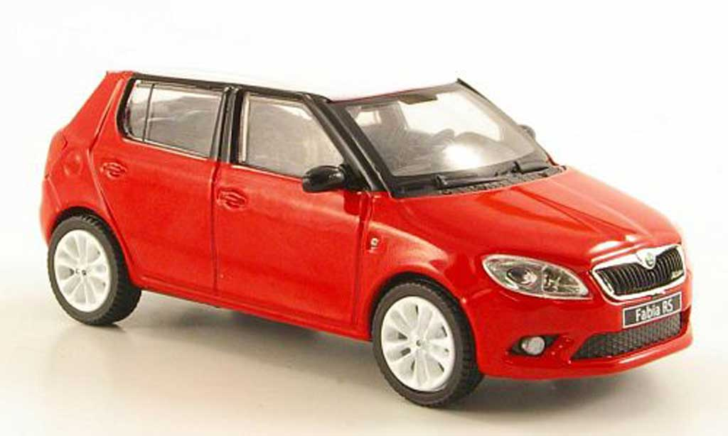 skoda fabia miniature rs rouge mit blancheem dach und felgen 2010 abrex 1 43 voiture. Black Bedroom Furniture Sets. Home Design Ideas