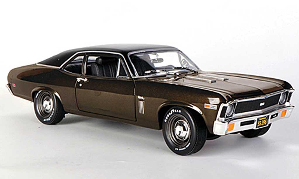 Chevrolet Nova 1969 1/18 Ertl SS 396 marron/mattnoire miniature