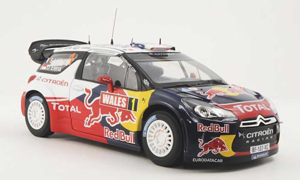 DS Automobiles DS3 WRC 2011 1/18 Norev No.1 Red Bull / Total S.Loeb / D.Elena Wales Rally GB miniature