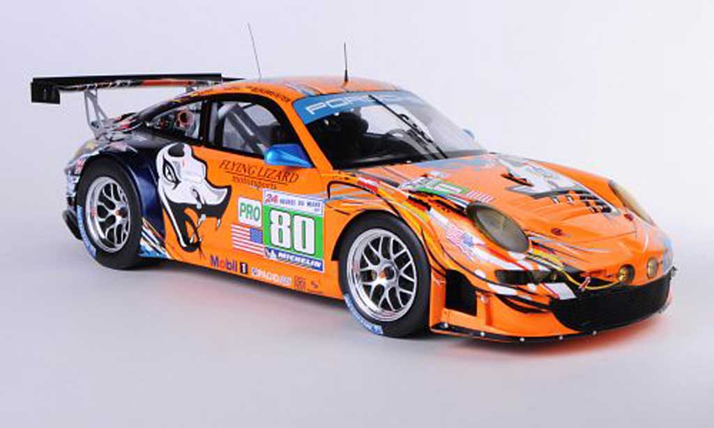 Porsche 997 GT3 RSR 1/18 Spark 2011 No.80 Flying Lizard Motorsport J.Bergmeister / P.Long / L.Luhr 24h Le Mans diecast model cars