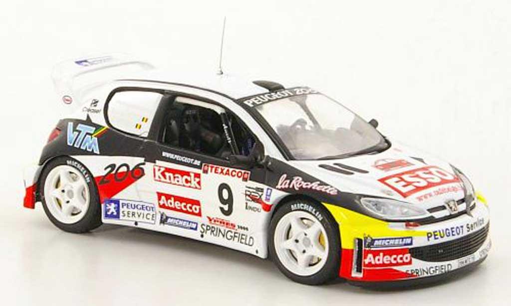 Peugeot 206 WRC 1/43 IXO No.9 P.Snijers / E.v.d.Pluym Rally Ypern 2000 miniature
