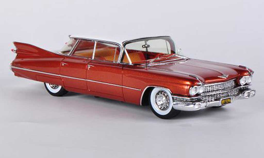 Cadillac Deville Sedan 4-Door 4-Window Hardtop marron/white 1959 Spark. Cadillac Deville Sedan 4-Door 4-Window Hardtop marron/white 1959 miniature 1/43