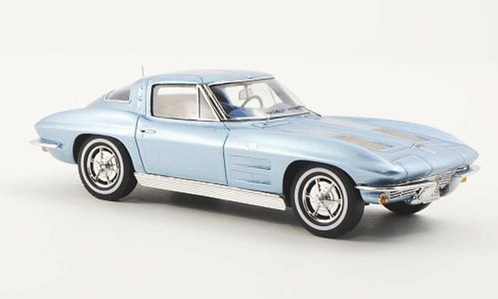 Chevrolet Corvette C2 1/43 Spark Sting Ray Split Window Coupe bleu 1963 miniature