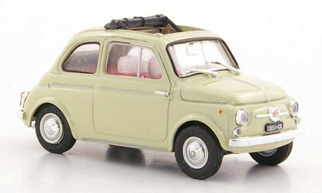 Fiat 500 D 1/43 Brumm beige geoffnetes Faltdach 1960 diecast model cars