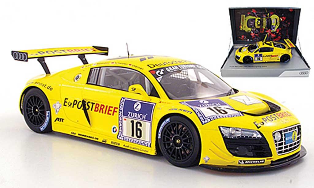Audi R8 LMS 1/18 Spark No.16 Deutsche Post Abt / Ekstrom / Scheider / Werner ADAC 24h Nurburgring 2011 miniature