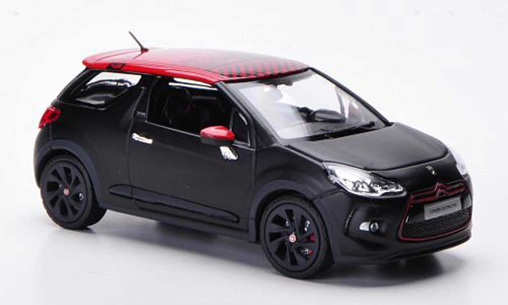 citroen ds3 racing miniature racing matt noire rouge 2012 norev 1 43 voiture. Black Bedroom Furniture Sets. Home Design Ideas