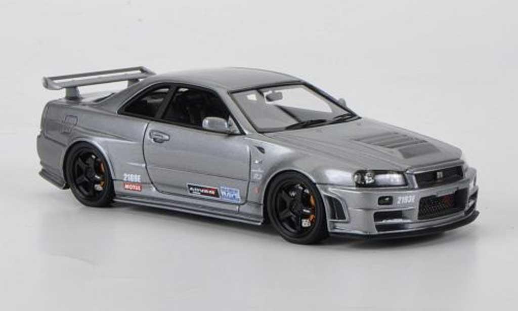 Nissan Skyline R34 1/43 HPI GT-R grise Omori Factory C RHD miniature