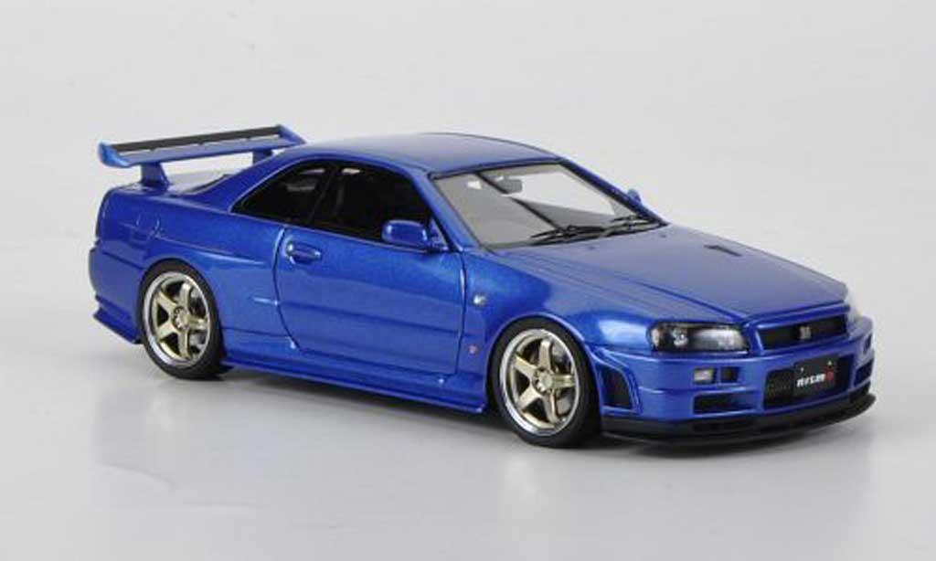 Nissan Skyline R34 1/43 HPI GT-R S-tune bleu RHD miniature