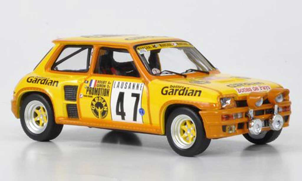 Renault 5 Turbo 1/43 IXO No.47 Gardian Rouby/Giron Rally Monte Carlo 1982 miniature
