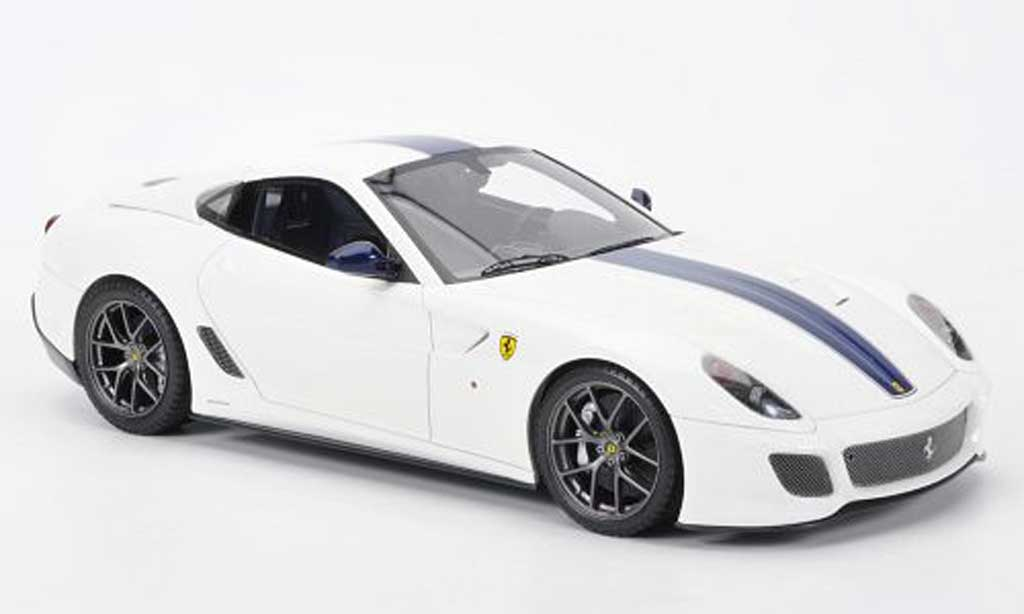 Ferrari 599 GTO 1/18 MR Collection blanche avec bleu Streifen miniature