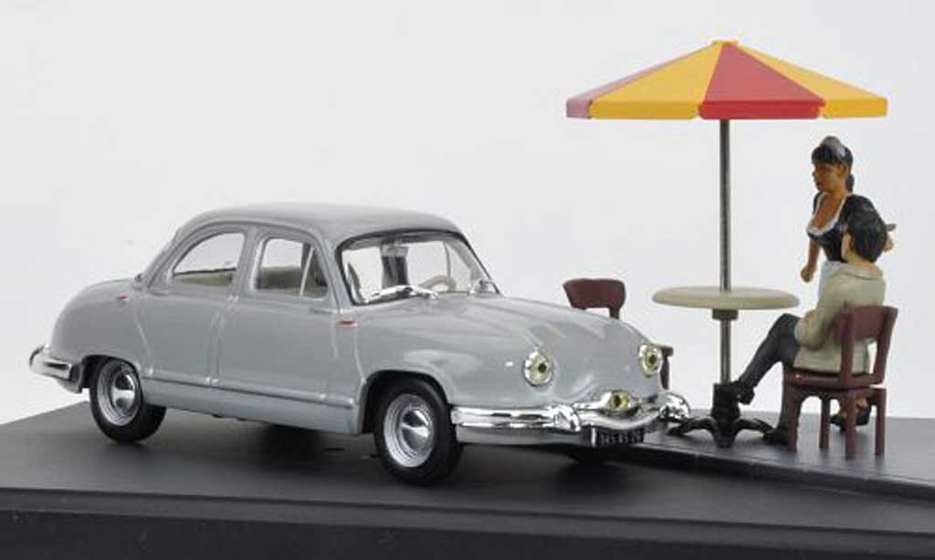 Panhard Dyna Z 1954 1/43 Hachette grigio Mini Diorama avec Figuren modellino in miniatura