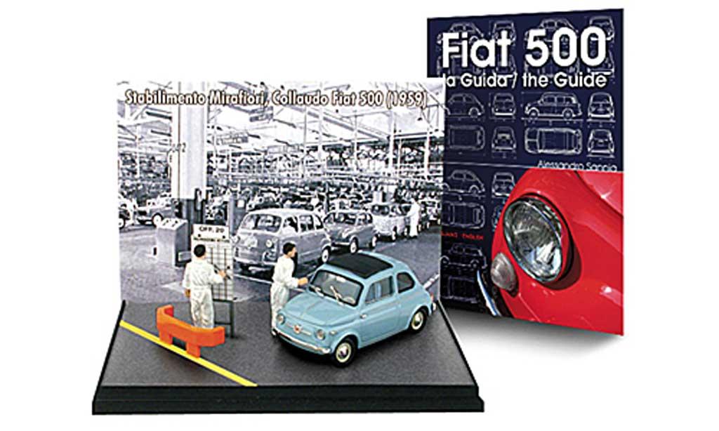 Fiat 500 1/43 Brumm Mini-Diorama unBuch: bleu 1959 ave2 Figuren + ''- la Guida / the Guide''