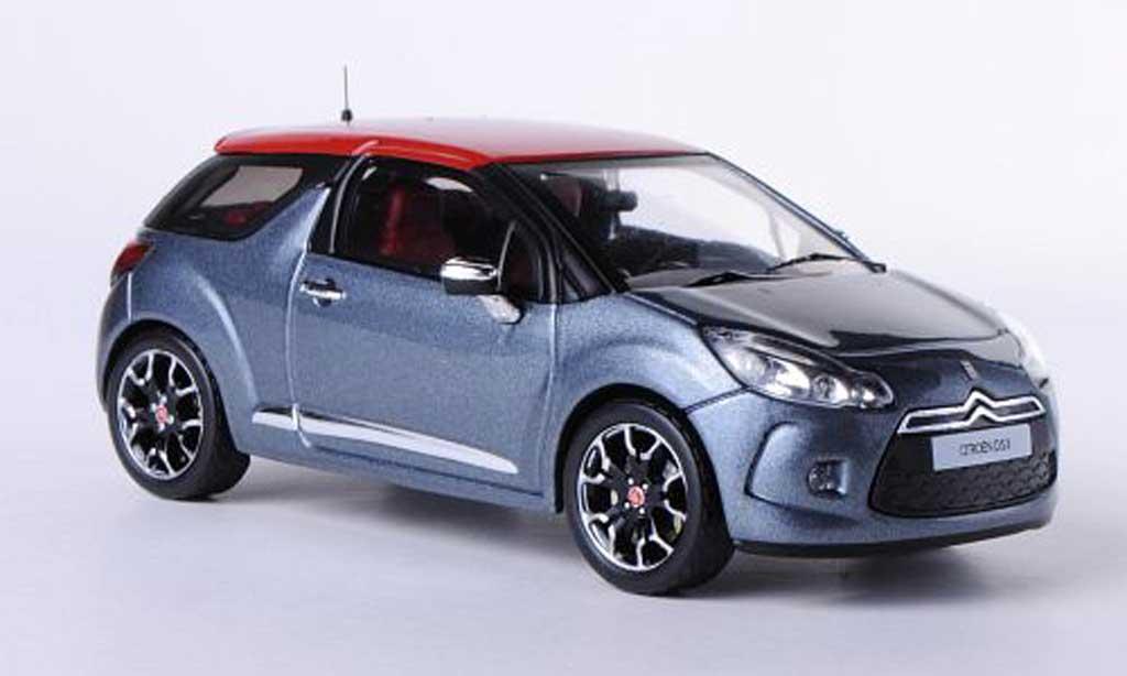 DS Automobiles DS3 1/43 IXO grise/rouge 2011 miniature
