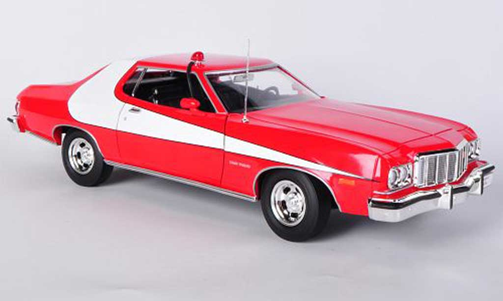 Ford Gran Torino 1/18 Greenlight rouge/blanche Starsky & Hutch 1974 miniature