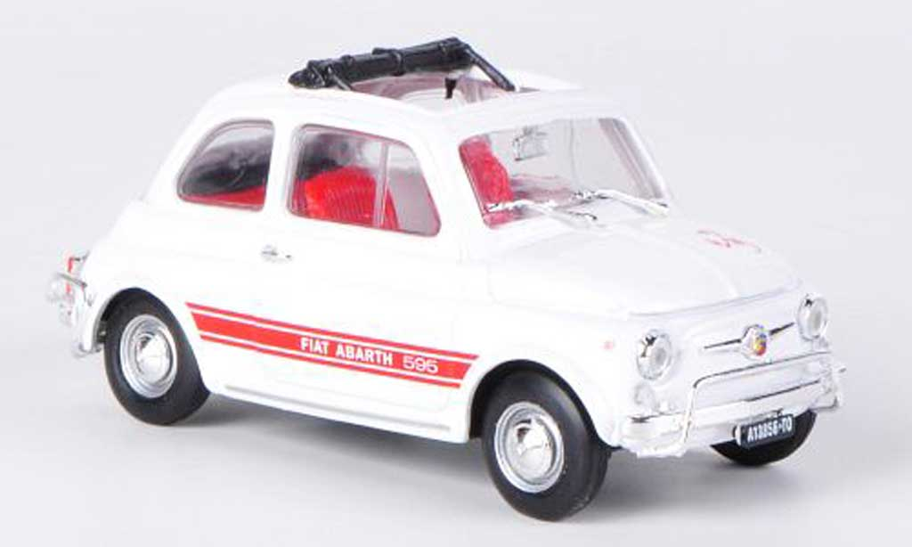Fiat 595 1/43 Brumm Abarth LSS white/red offenes Faltdach 1965 diecast model cars