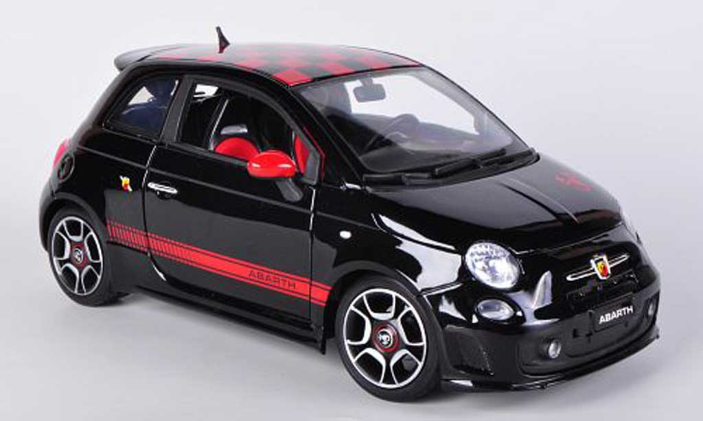 Fiat 500 Abarth 1/18 Burago black/red 2008 diecast model cars