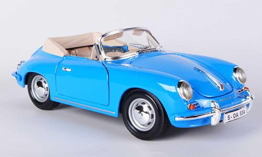 Porsche 356 1961 B Cabriolet Blue Burago Diecast Model Car