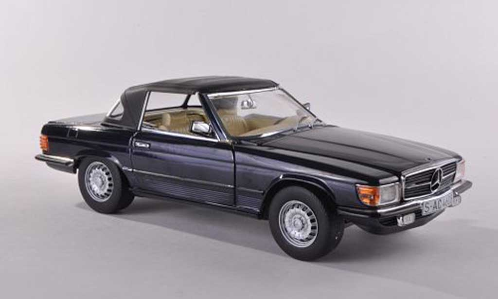 Mercedes 350 SL 1/18 Sun Star SL (R107) noire-bleu ferme 1977 miniature