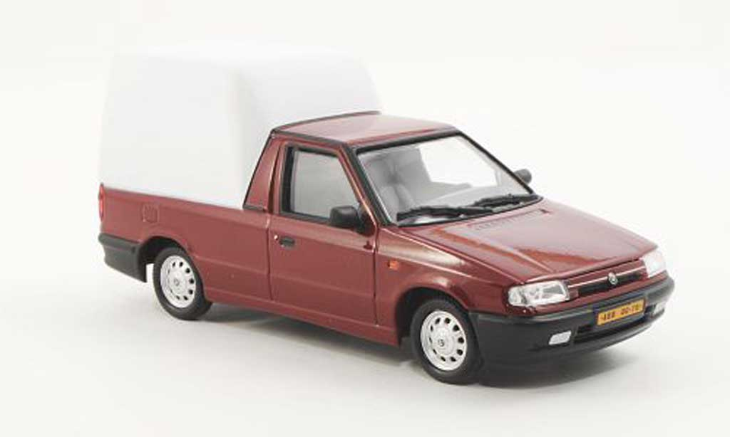 Skoda Felicia 1/43 Abrex Pick-up rouge/blanche 1996 miniature