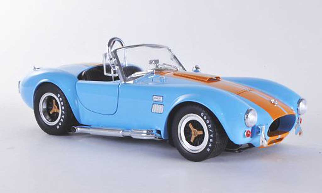 Shelby Ac Cobra 1/18 Shelby Collectibles 427 S/Cbleu mit orangenen Streifen 1966 miniature