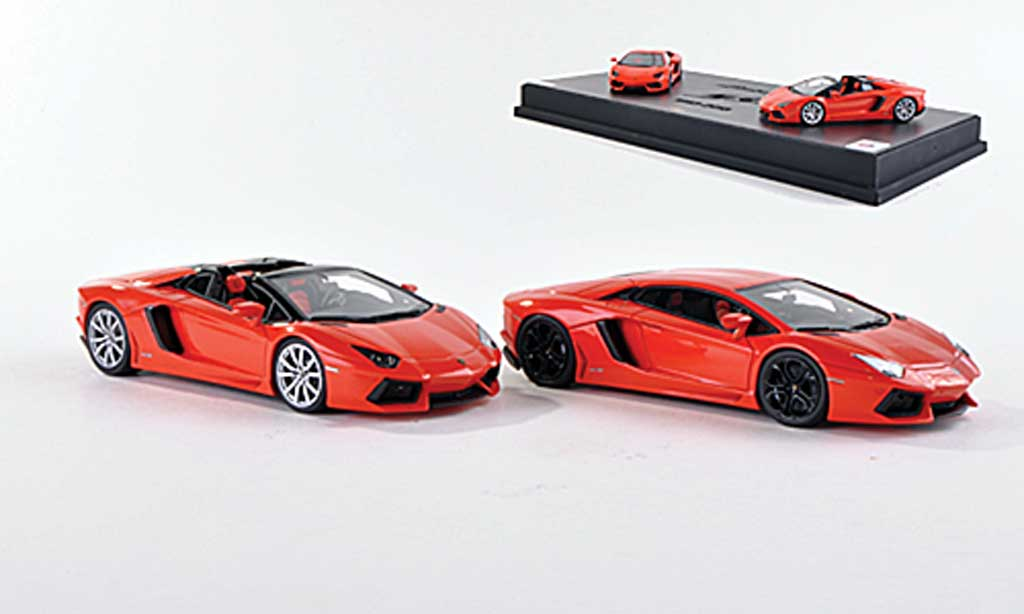 Lamborghini Aventador LP700-4 1/43 MR Collection Collezione Tecnica No.2: Aventador LP700-4 und Aventador LP700-4 Roadster orange  miniature