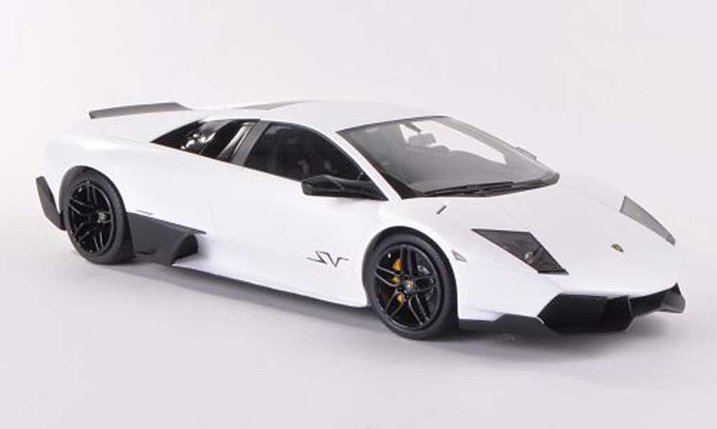 Lamborghini Murcielago LP670 1/18 MR Collection 4 SV Fixed Wing mattblanche miniature