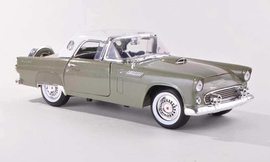 Ford Thunderbird 1956 1/18 Motormax Hardtop grise-grun/blanche miniature