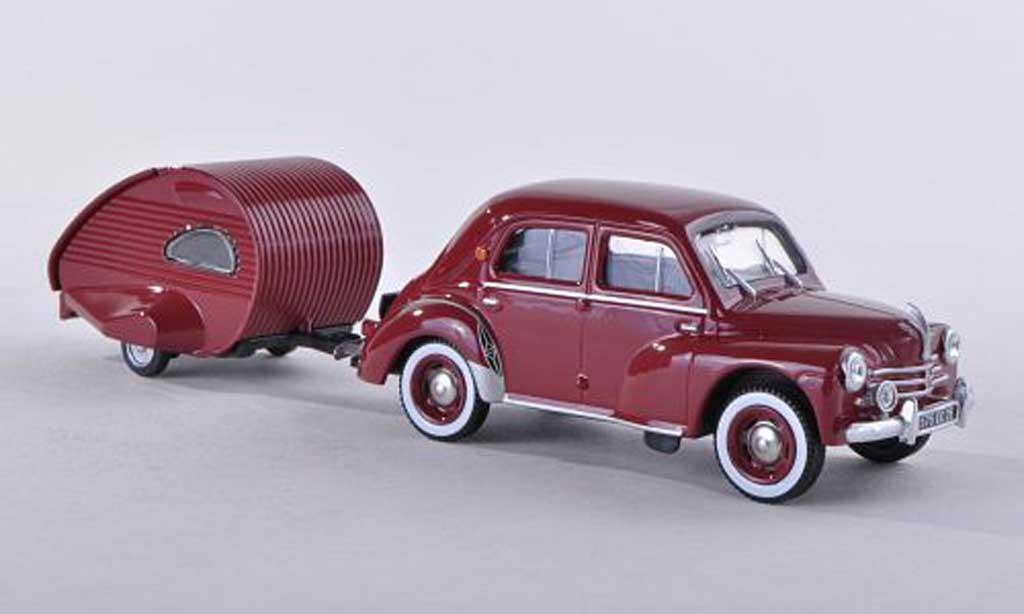 Renault 4CV 1/43 Eligor avec caravane Ailette noire-rouge miniature