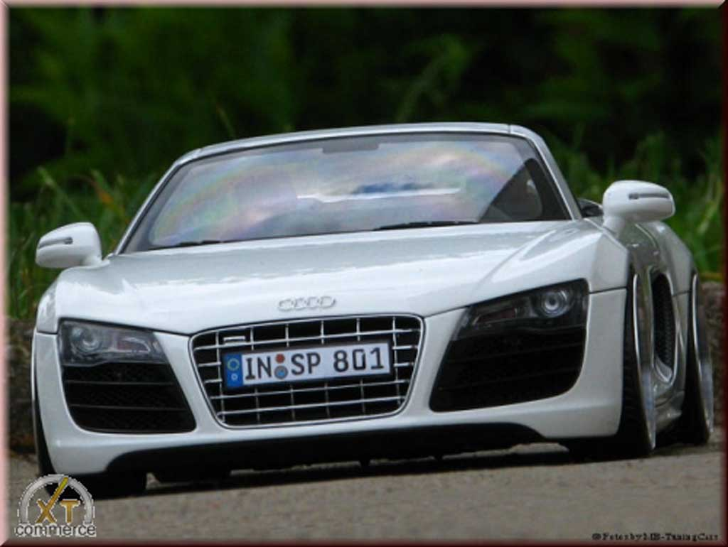 audi r8 spyder miniature blanche v10 jantes 21 pouces rabaiss e kyosho 1 18 voiture. Black Bedroom Furniture Sets. Home Design Ideas