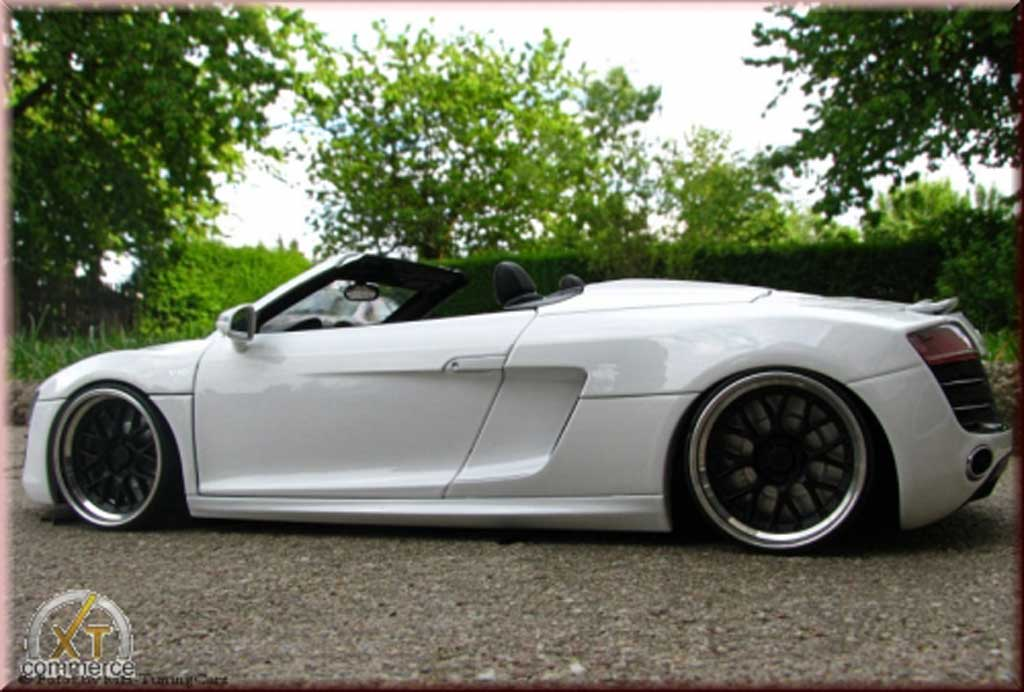 Audi R8 Spyder 1/18 Kyosho weiss V10 jantes 21 pouces rabaissee tuning modellautos