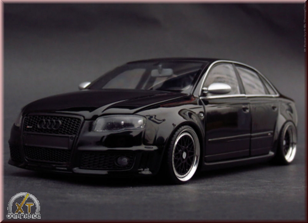audi rs4 schwarz felgen bbs 18 minichamps modellauto 1 18. Black Bedroom Furniture Sets. Home Design Ideas