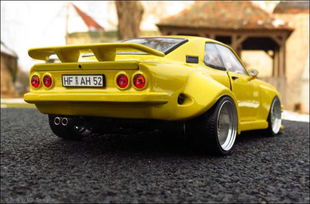 Opel Manta A  jaune kit carrosserie sur mesure jantes en nid d'abeilles Norev