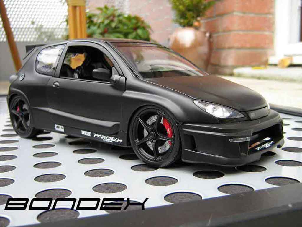 Peugeot 206 RC 1/18 Norev paredech 3 portes black tuning diecast model cars