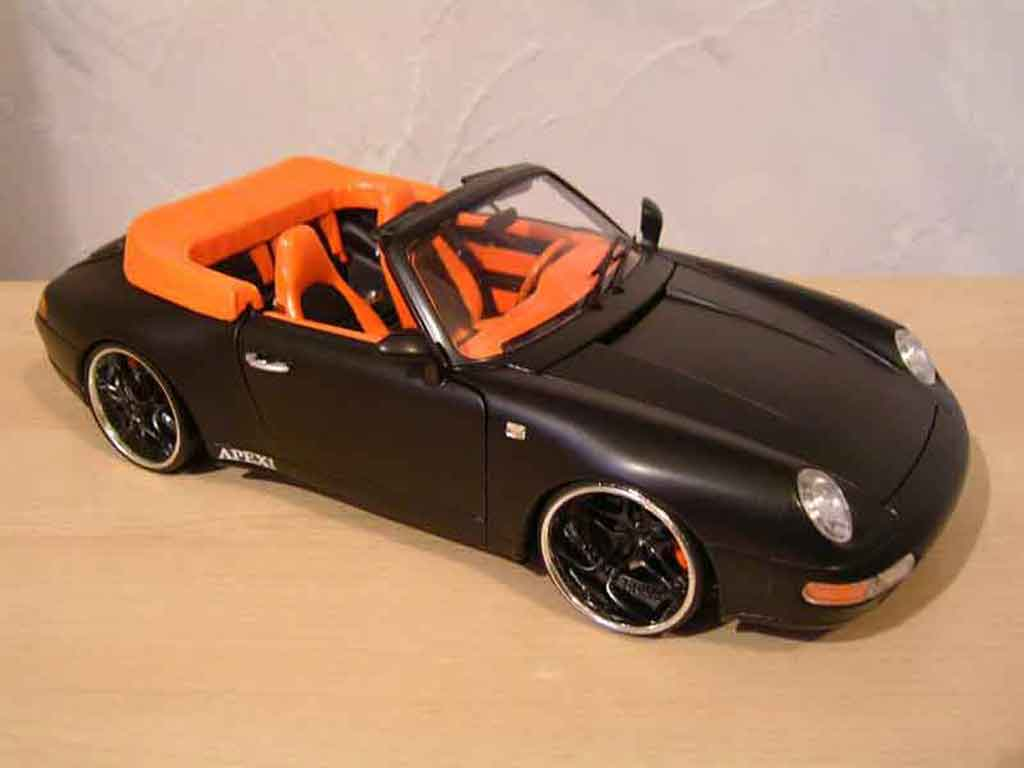 porsche 993 cabriolet miniature carrera noire burago 1 18 voiture. Black Bedroom Furniture Sets. Home Design Ideas