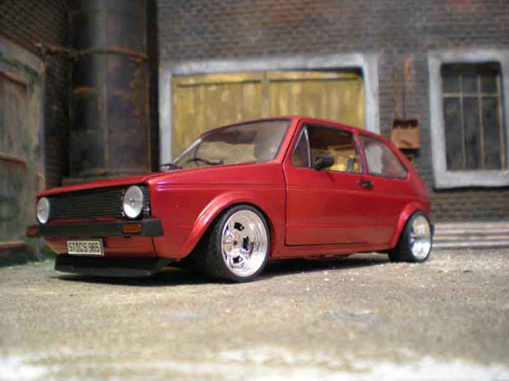 Volkswagen Golf 1 GTI 1/18 Solido jantes bords larges gros deport german look tuning miniature