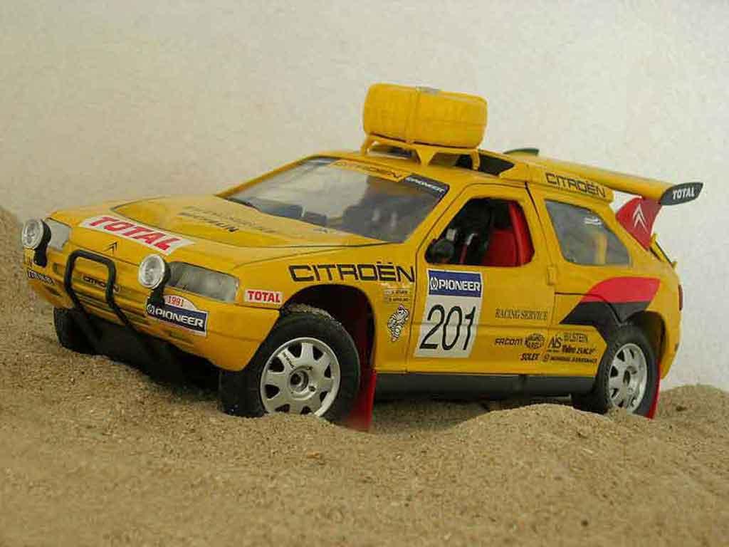 Citroen ZX 1/18 Solido rallye raid #201 1992 Jaune miniature