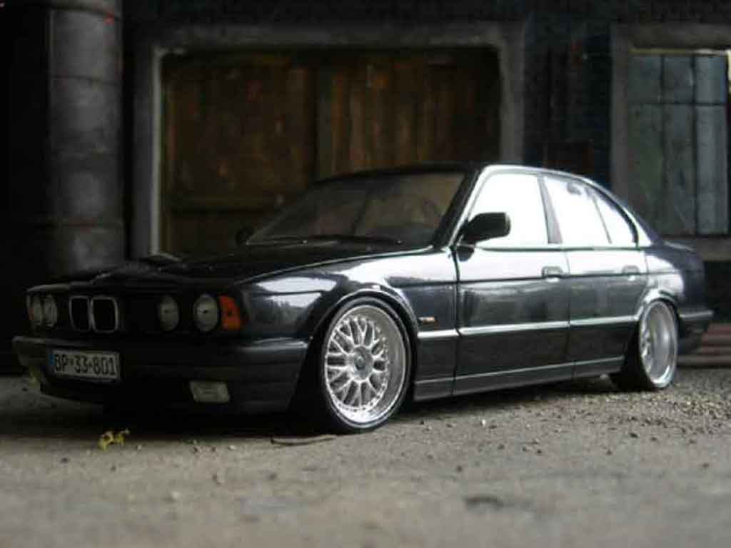Bmw 535 1988 1/18 Minichamps i noire jantes bbs bords larges tuning miniature