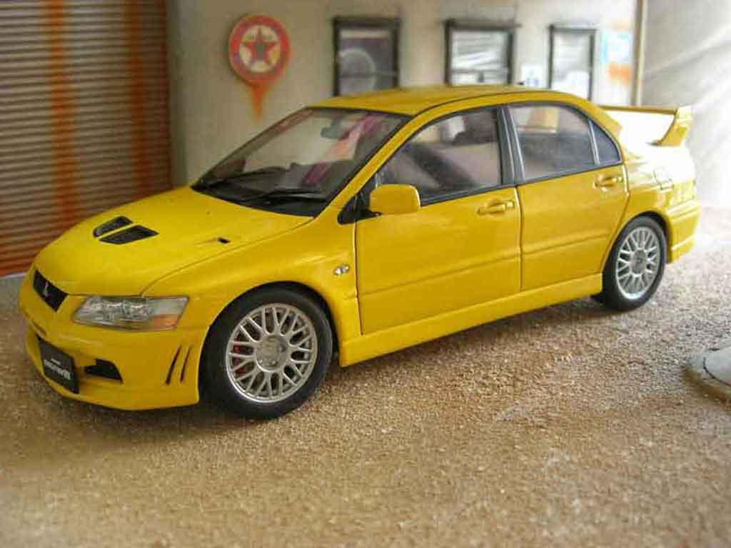 Mitsubishi Lancer Evolution Vii Yellow Autoart Diecast Model Car 1
