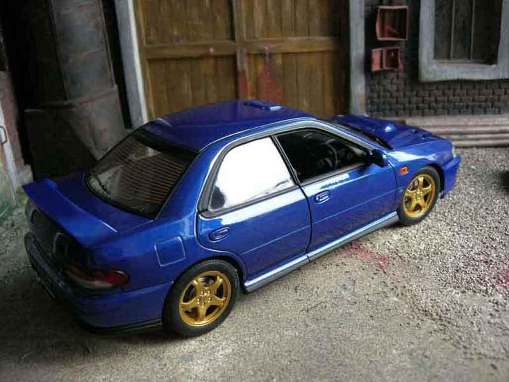 subaru impreza sti gt turbo miniature wrx bleue autoart 1 18 voiture. Black Bedroom Furniture Sets. Home Design Ideas