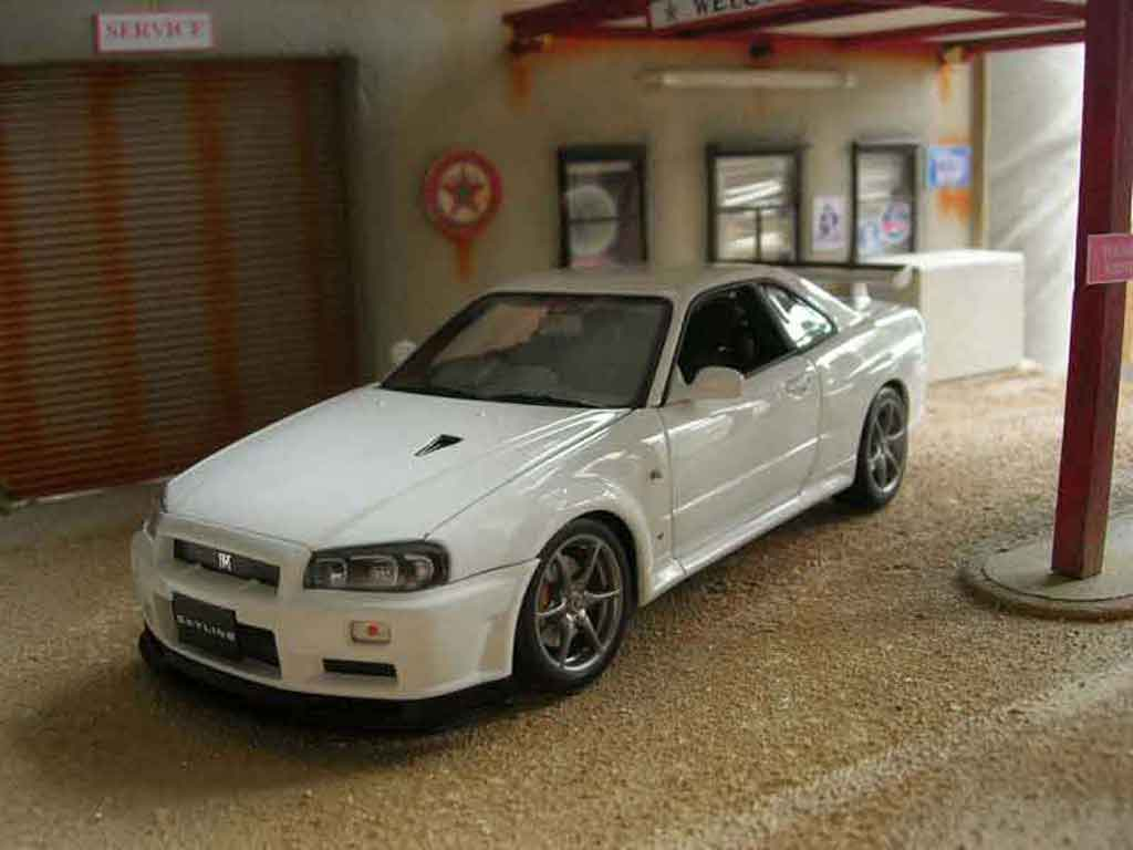 nissan skyline r34 blanche gtr v spec ii autoart diecast. Black Bedroom Furniture Sets. Home Design Ideas
