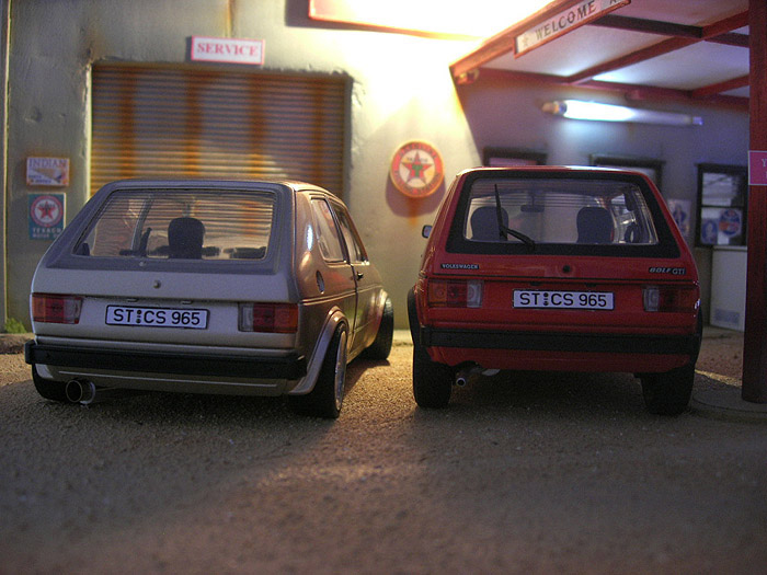 Volkswagen Golf 1 GTI 1/18 Solido german look swap moteur audi tt jantes bords larges